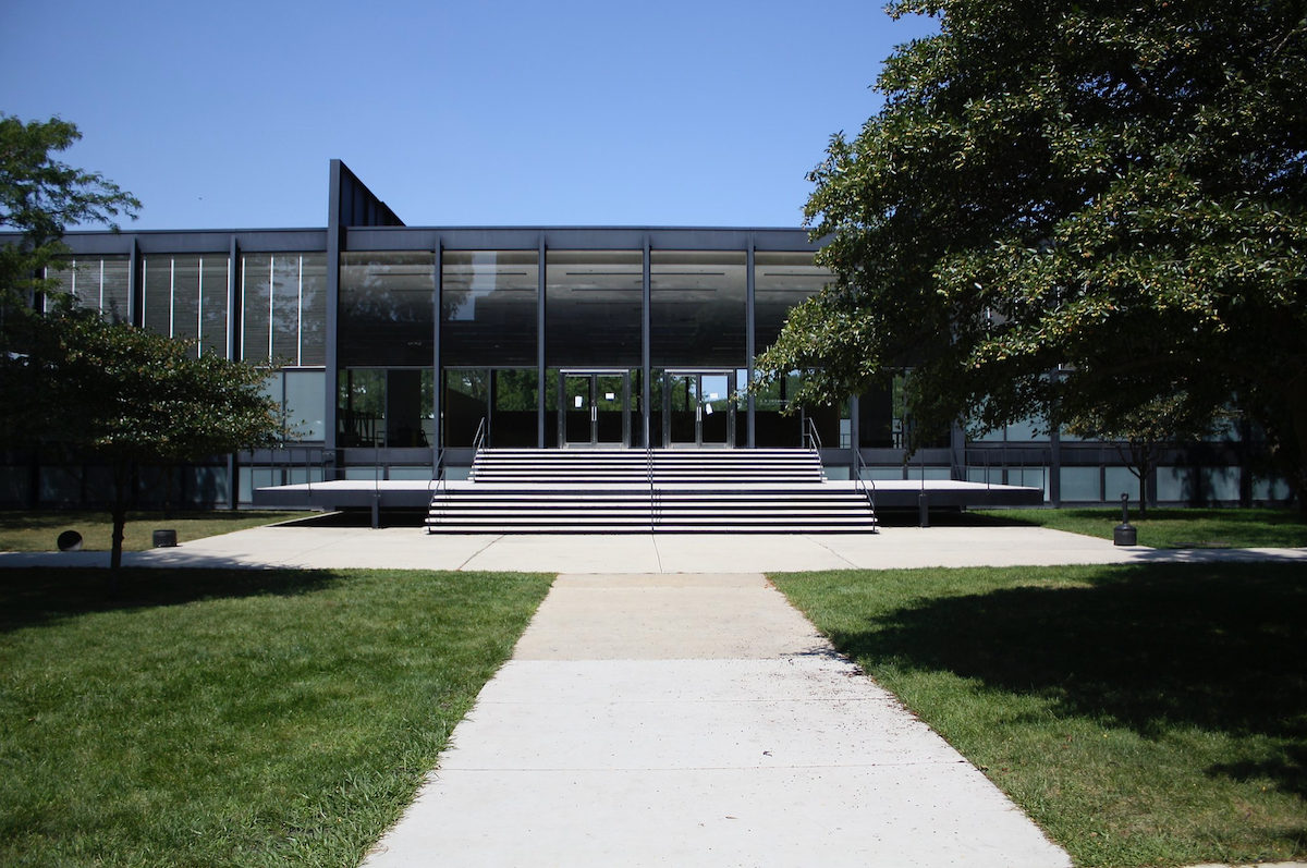 Crown Hall, designed by Ludwig Mies van der Rohe, at the Illinois Institute of Technology.