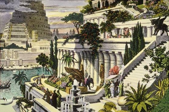 An illustration of the Hanging Gardens of Babylon.