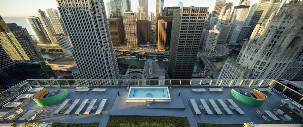 The rooftop at Optima Chicago Center.