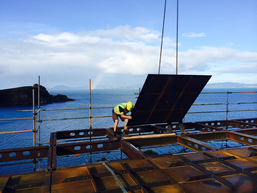Modular frame construction on DCHGlobal Whale Bay House in New Zealand