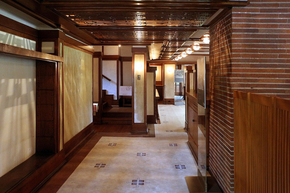 Interior of the Robie House, designed by Frank Lloyd Wright.