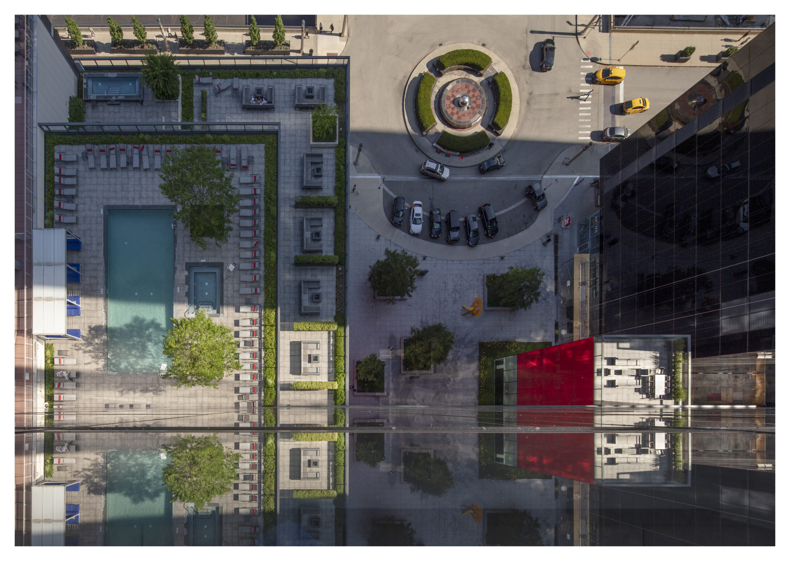 Aerial view of the plaza at Optima Signature and Chicago Center