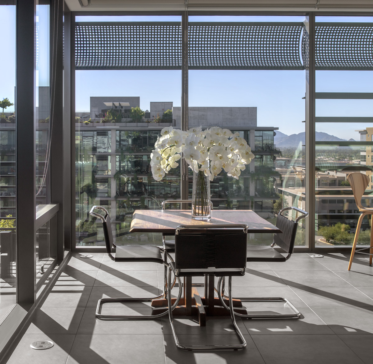 Barcelona Chairs at 7120 Optima Kierland with mountain views