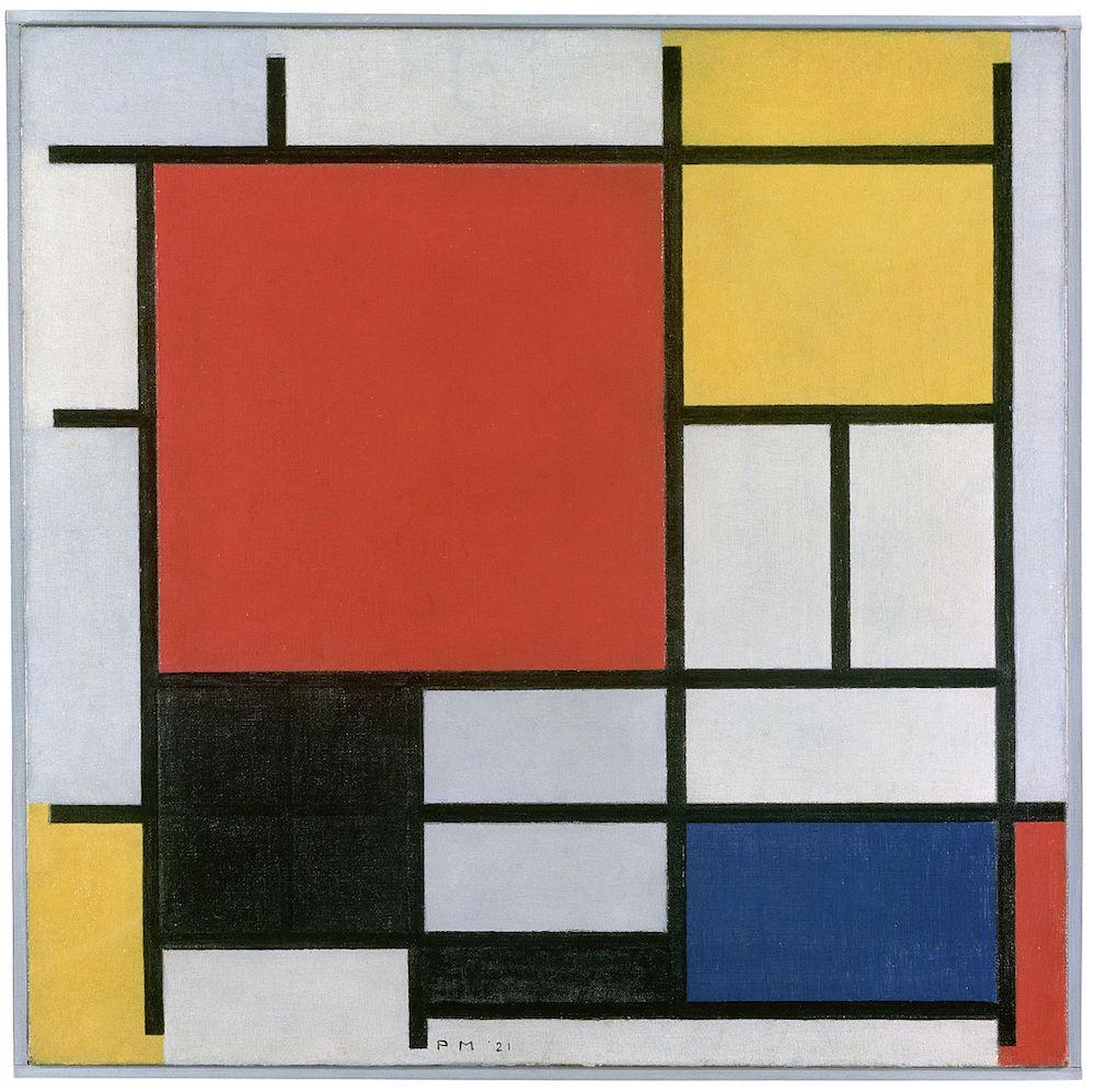 Composition en rouge, jaune, bleu et noir, Piet Mondrian, 1921