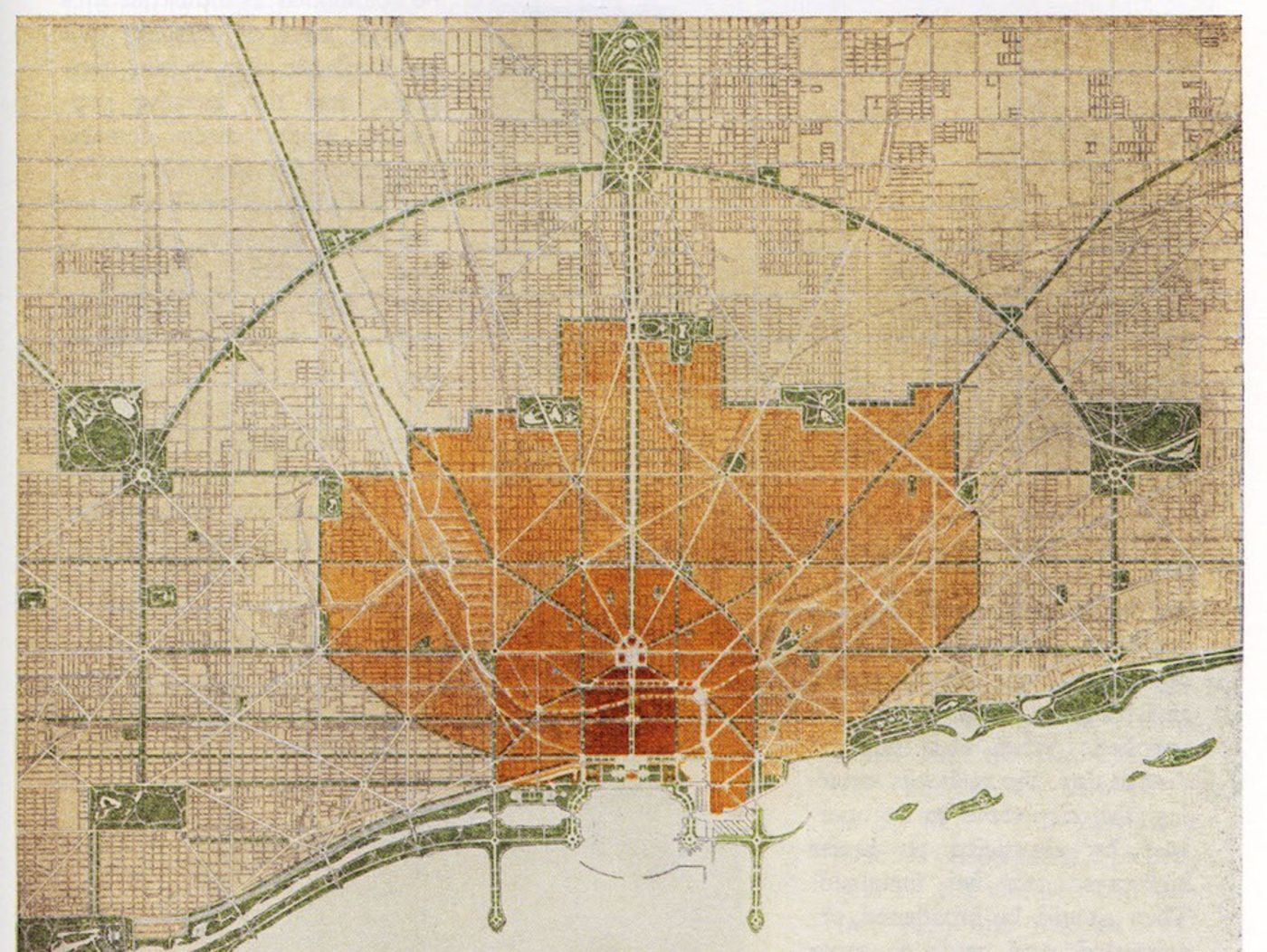 The 1909 Plan of Chicago, by Daniel Burnham and Edward H. Bennett. Plate CCCI Plan of Existing and Proposed Parks and Boulevards