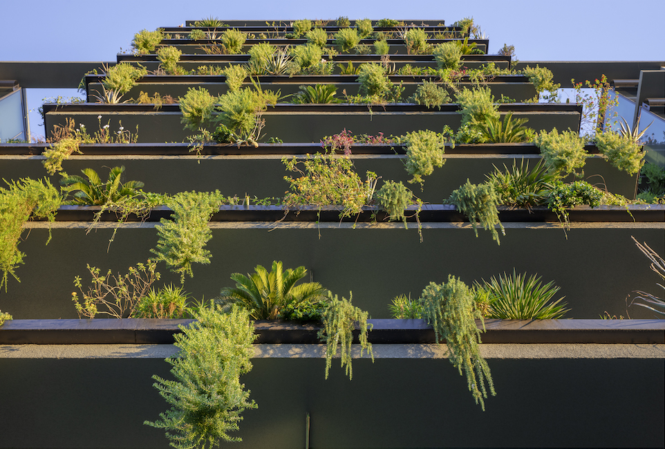 The vertical landscaping system at Optima Kierland