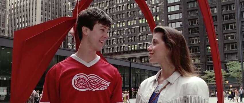 Still shot from Ferris Bueller's Day Off with Calder's Flamingo in the background