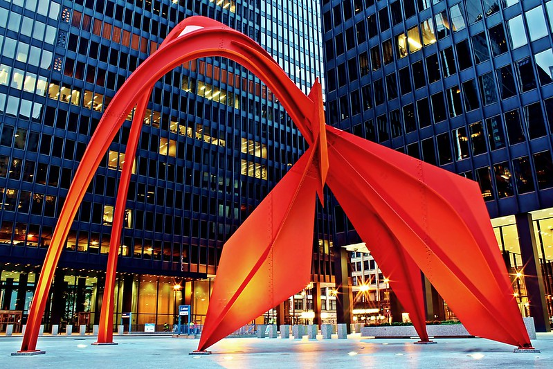 Alexander Calder's Flamingo statue in Chicago