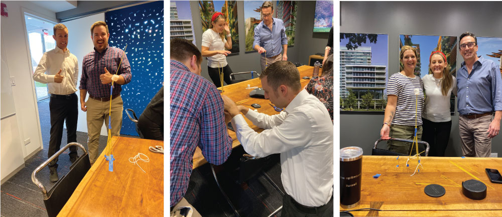 Optima team participating in the marshmallow challenge