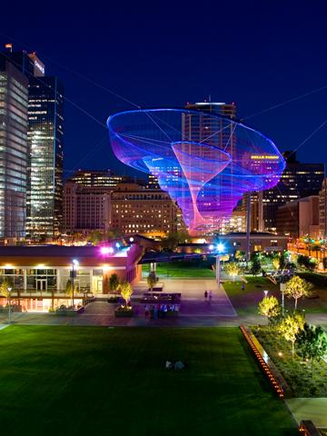 Nightime photo of the installation, Her Secret is Patience, in Phoenix, Arizona.