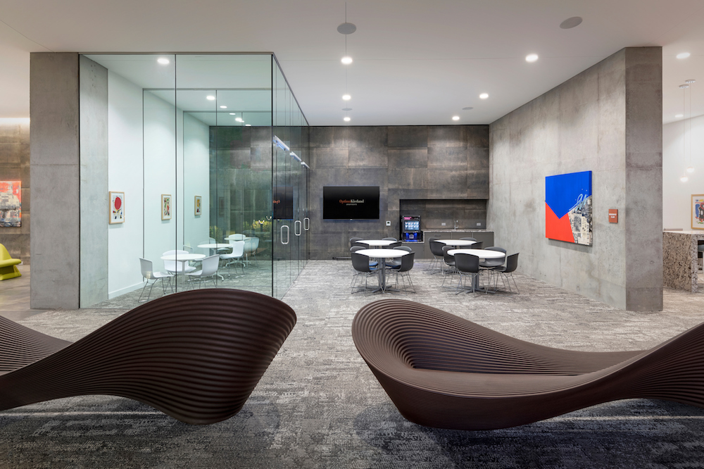 The Folly bench, designed for Magis by Ron Arad, in the 7140 Tower at Optima Kierland Apartments