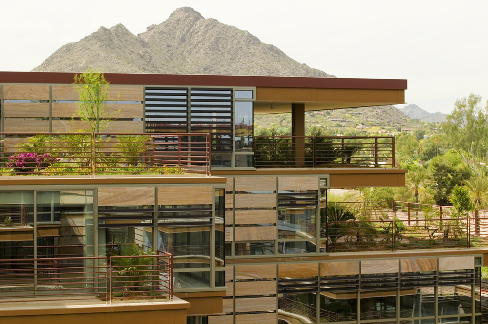 Rectilinear design at Optima Camelview Village in Scottsdale, Arizona.