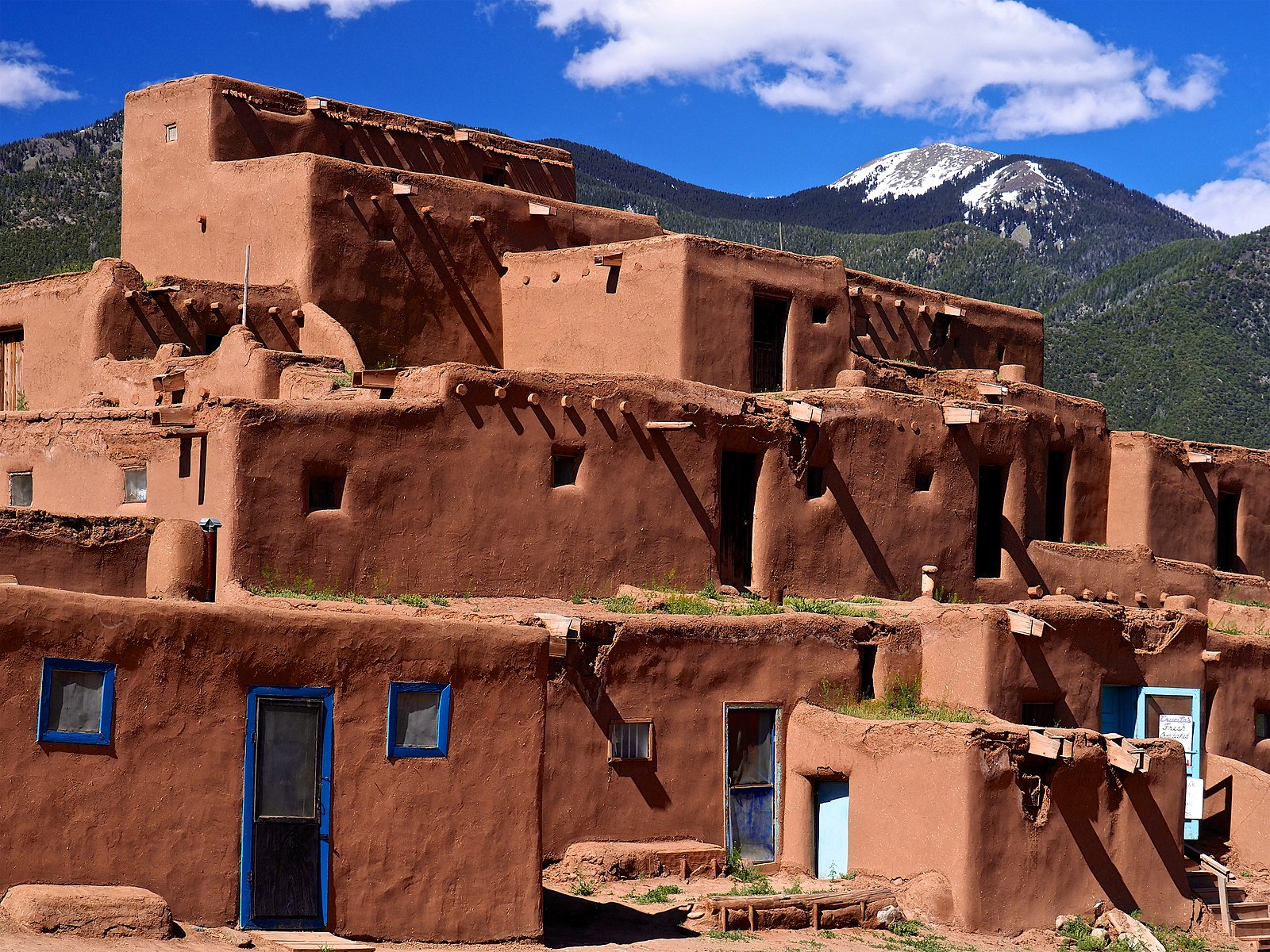 Taos Pueblo in Taos, New Mexico, a multilevel adobe dwelling and one of the most famous examples of Pueblo architecture