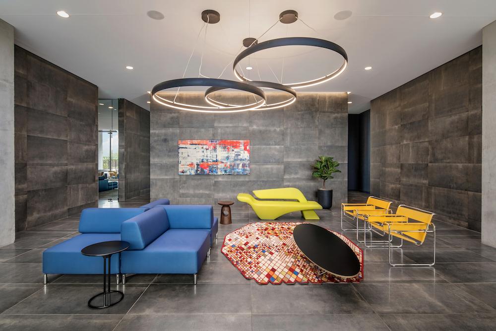 Pierce by Karim Rashid for SOFTLINE, and modular sofa, at Optima Kierland Apartments