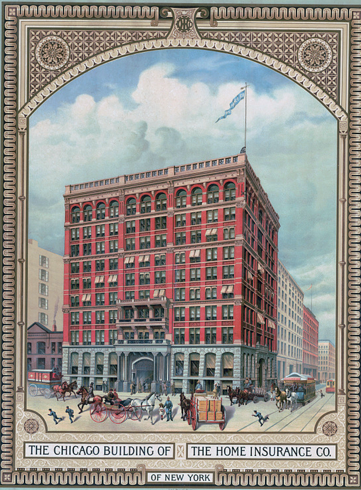 Home Insurance Building, 1885, Published by Sprang Printing, Boston