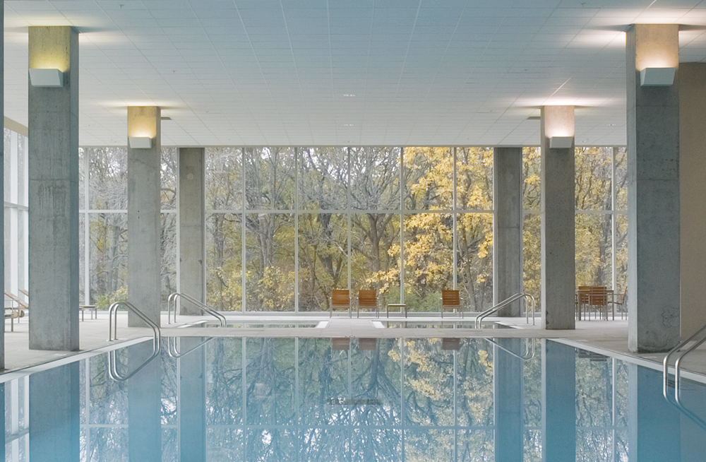 Indoor swimming pool at Optima Old Orchard Woods