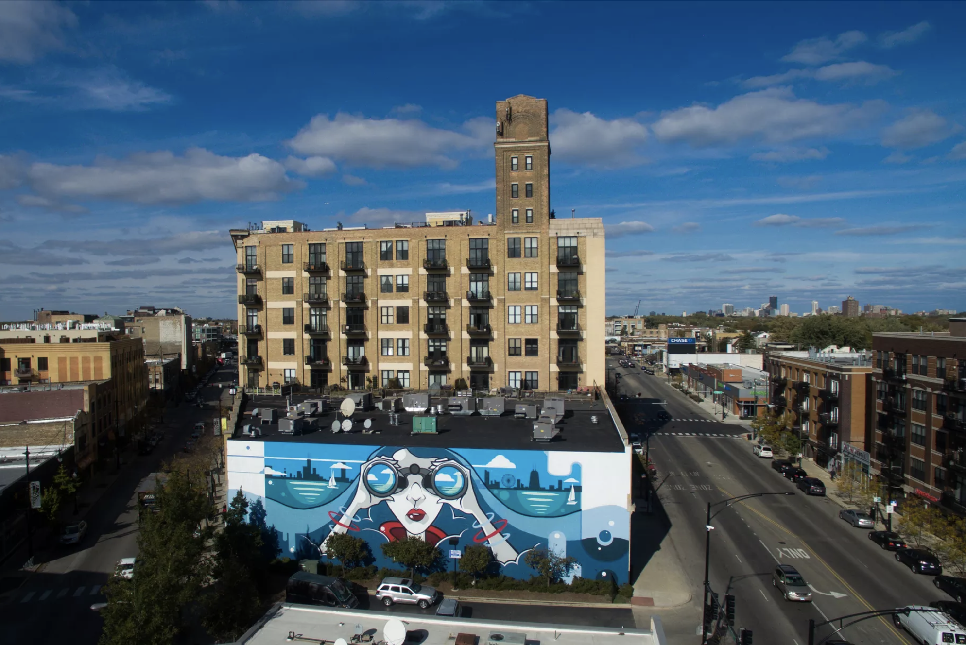 LAKE VIEW by Anthony Lewellen at the intersection of Lincoln/Ashland/Belmont. Way Up Creative. Photo courtesy of Curbed Chicago