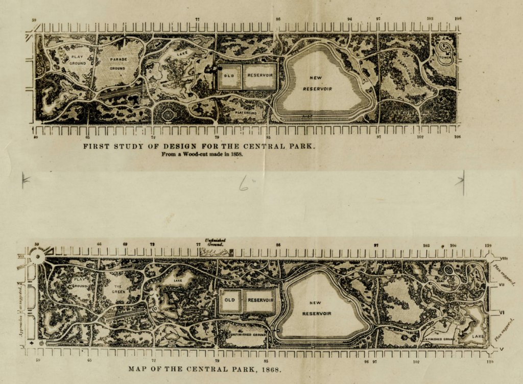 Early designs for Central Park. Image courtesy of the National Park Service, Frederick Law Olmsted National Historic Site