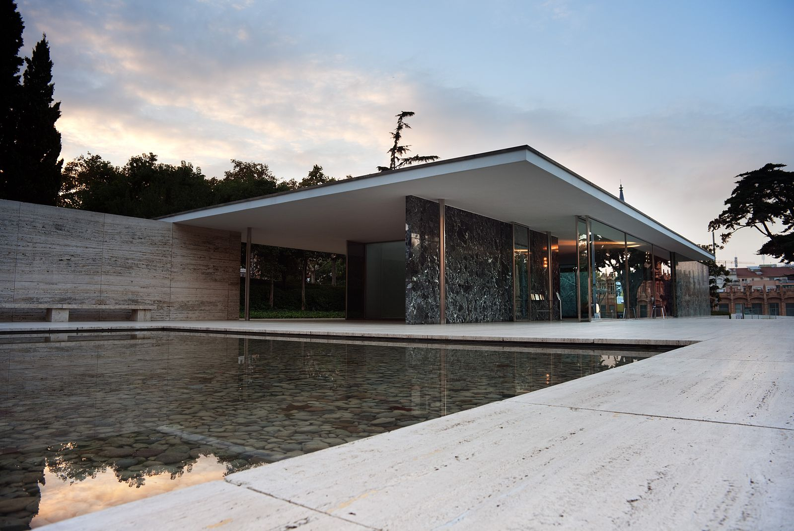 The original Barcelona Pavilion, 1928-29, by Ludwig Mies van der Rohe.