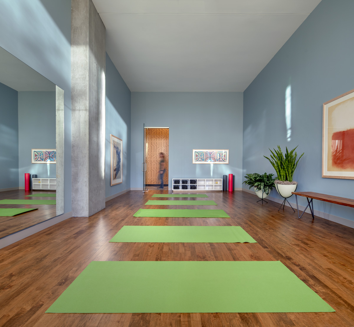 Yoga studio at an Optima building
