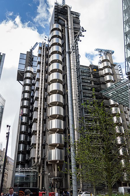 Lloyd's Building (1978) in London, England. Designed by Richard Rogers, Ivan Harbour, Mike Davies, Syd Cheatle