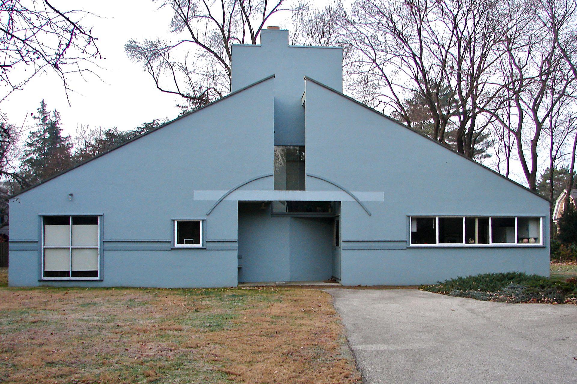 Vanna Venturi House (1962-64) by Robert Venturi in Philadelphia, Pennsylvania as one of the first Postmodernist architectural feats