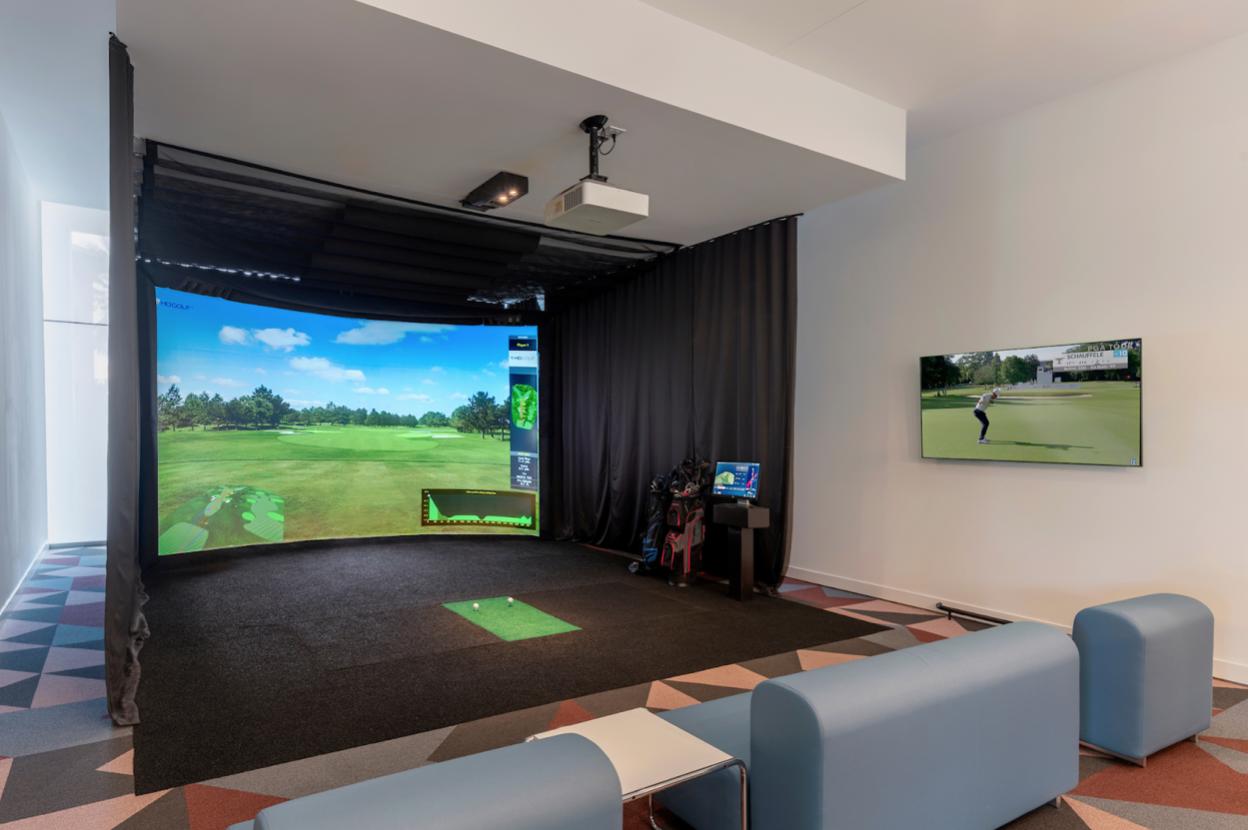golf simulator at Optima property
