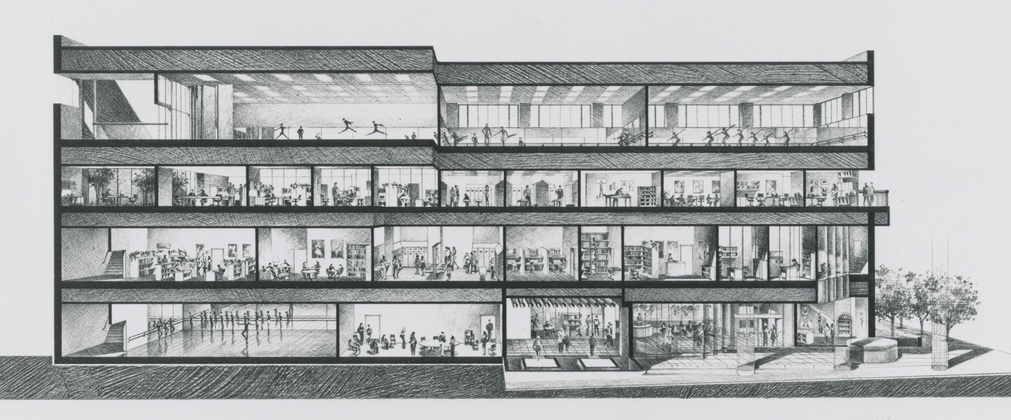 Beverly Willis & Associates, preliminary section showing uses for San Francisco Ballet Building, San Francisco, 1979. Beverly Willis Archive