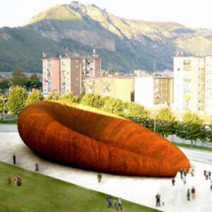 The rendering of the Monte St Angelo Subway Station shows a large burnt orange bean form that is the entrance to the station below.