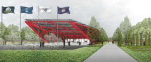 A rendering presents a bright red steel structure with four flag poles with flags flying in its front. Around the structure green grass and trees fill the area.
