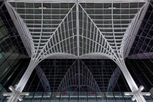 A view underneath the Charles M. Harper Center atrium.