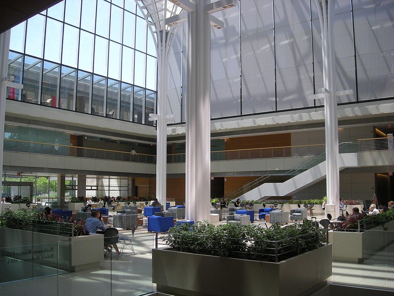 Bright sunlight fills a glass atrium.