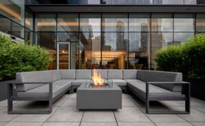 Landscaping used to create privacy at Optima Signature