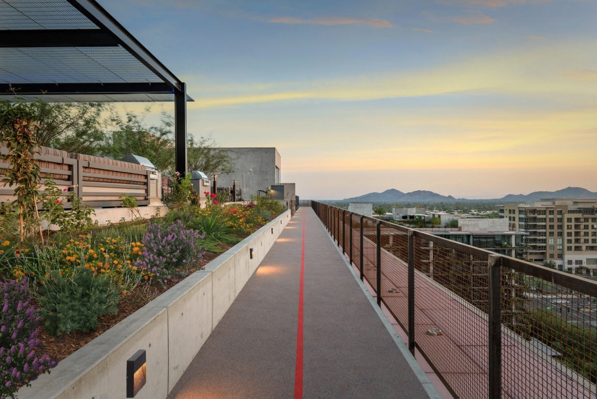 The rooftop running track at 7140 Optima Kierland